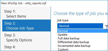 WinZip Job Types