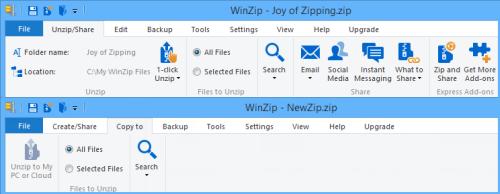 Unzip/Copy to tab - WinZip Ribbon