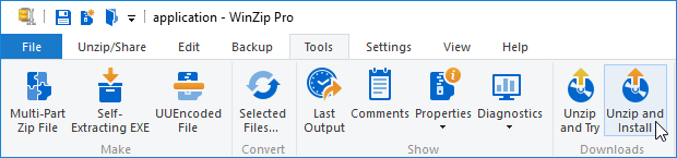 WinZip ribbon interface - Unzip and Install button is active
