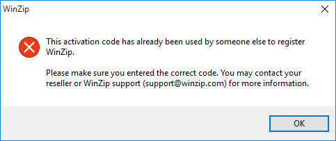 Dialog stating your activation code has been used