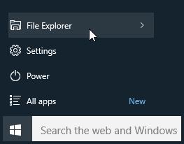 Click Start and click File Explorer