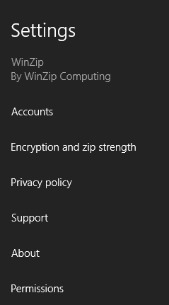 WinZip Settings panel