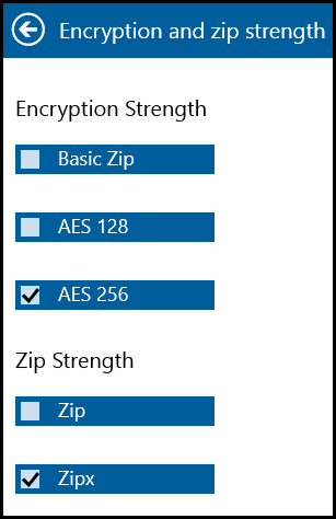 Encryption and zip strength panel