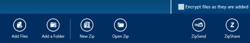 WinZip app bar