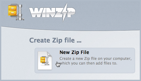Click New Zip File in the Welcome screen