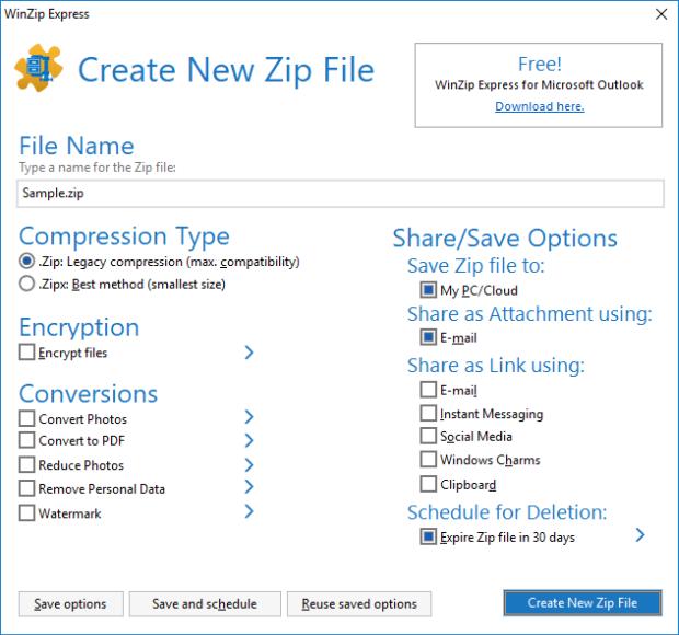 Zip and Share (WinZip Express) dialog