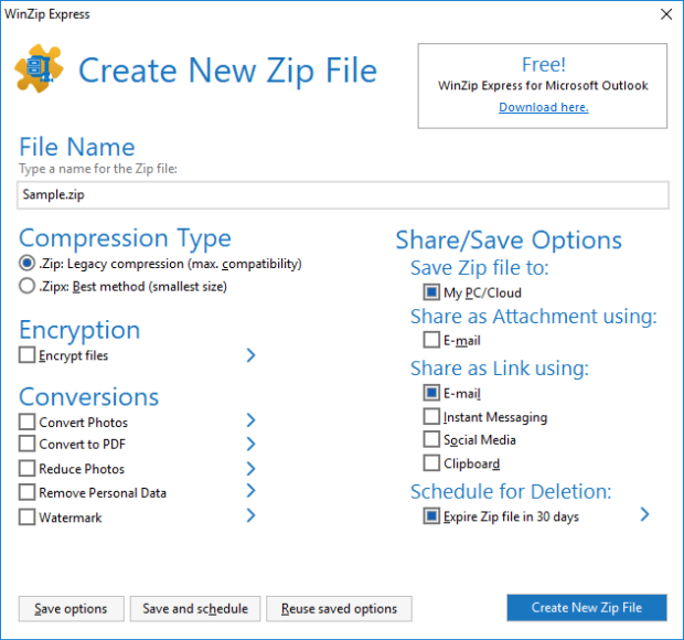 WinZip Express for Explorer dialog