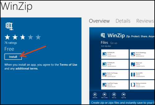 WinZip for Windows 8 in the Windows Store