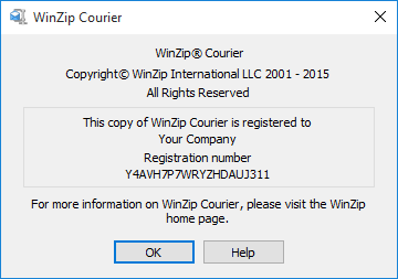 About WinZip Courier dialog